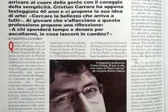 Valentina Lo Surdo, «The success? It's a faith question», An interview with Cristian Carrara, Suonare News, December 2017